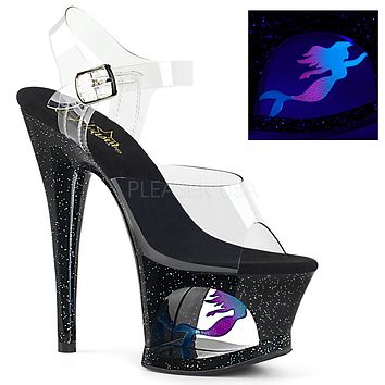 "Moon 708MER Black Cut Out Platform Neon Mermaid Design 7"" High Heel Shoe"