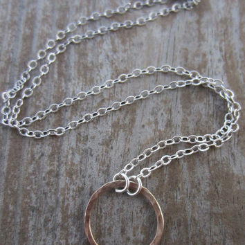 14k Gold Eternity Necklace, Hammered Gold, Solid Gold Circle on Sterling Silver Chain