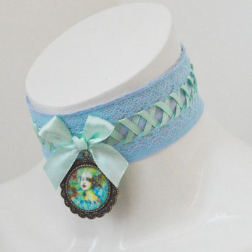 Sweet lolita collar - Water nymph - necklace pastel kawaii cute petplay neko girl kitten pet play - mint green and blue lace collar