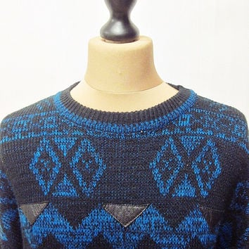 Vintage 80s Indie Scene Cosby Crazy Pattern Leather Patch Jumper Sweater Small