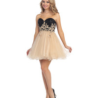 Preorder - Gold Floral Strapless Sequin Bodice Corset Back Dress Prom 2015