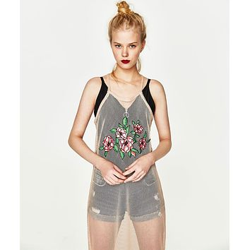 ZARA Trafaluc Trends Mesh Floral Embroidered Halter Dress One-nice™