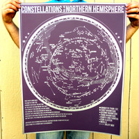 NEW - Constellations of the Northern Hemisphere star chart - hand pulled large screen print 22x28 inch Astronomy Poster