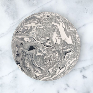 Grey Ebru Marble Ceramic Dinner Plate