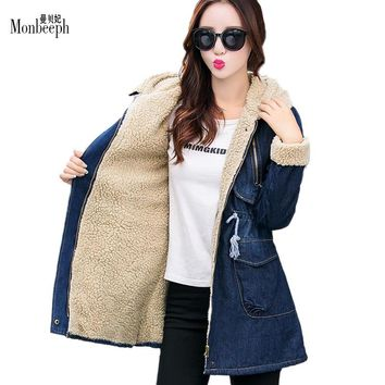 2017 Denim Outerwear Women's Medium-Long Slim Autumn And Winter Casual Plus Velvet Thicken Wadded Jacket Keep warm jeans hoodies