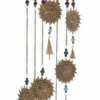 "Alluring Metal Glass Sun Windchime 7""W 36""H"