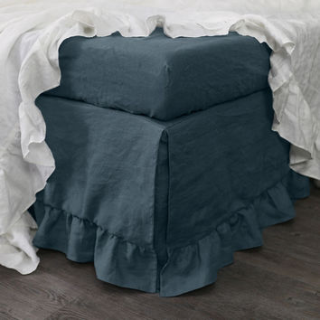 Ruffled Linen Bed Skirt
