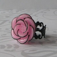 Pink Strawberry Kiss Rose RIng on a Vintage by DesignsbyChastity