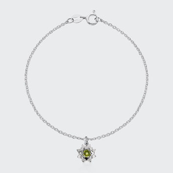 Protea Charm Bracelet with Stone - silver/peridot