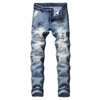 Black Ultra Ripped Skinny Jeans Men Men's Stretchy Ripped Skinny Biker Jeans Destroyed Taped Slim Fit Denim streetwear Pants