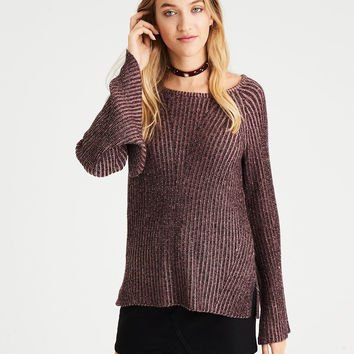 AE Split-Bell-Sleeve Ribbed Sweater, Washed Plum