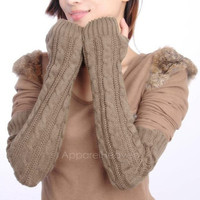 Women's Long Gloves Arm Warmers Hand Knitted Half Warmer Glove For Women   AP = 1958072580