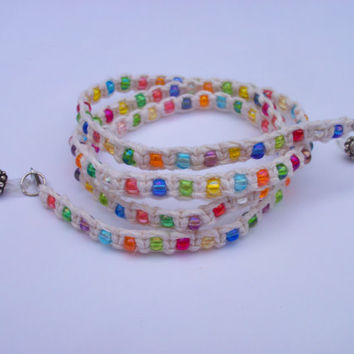 Beaded Hemp Eyeglass Chain, eyeglass leash, micro macrame, cosmic rainbow