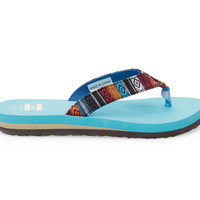TOMS Blue Woven Youth Verano Flip Flops Blue