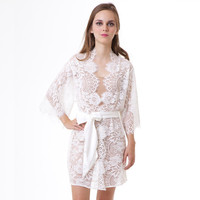 Swan Queen Spring Bridal Scalloped French Lace kimono robe ivory off white S M L custom getting ready