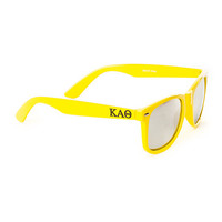 Kappa Alpha Theta Sorority Yellow Wayfarer Sunglasses with Mirrored Lens