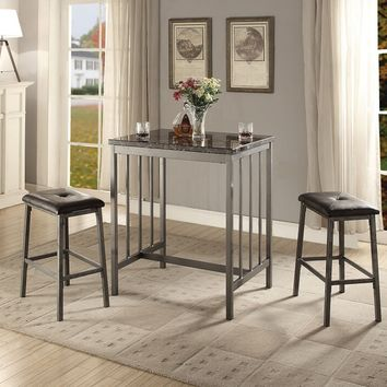 Acme 72355 3 pc Venator faux marble top and grey metal frame counter height bar table set