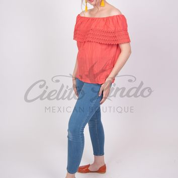 Mexican Campesina Off-Shoulder Top Coral