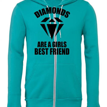 Diamonds Are A Girls Best Friend Zipper Hoodie