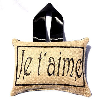 Je t'aime Burlap Accent Throw Pillow with Ribbon