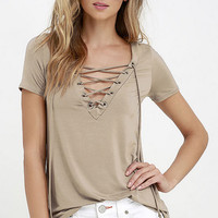 Cross Lace Plain T-Shirt