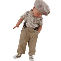 Boy Baby Striped Polo T-shirt Top Bib + Pants Set Overalls Outfit (80 (6-18 Months))