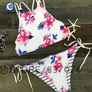 Floral Bikini Beach  Spring Break Summer Woman Girl Cute Swimming