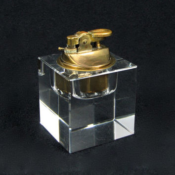 Got A Light - Mid-Century Modern Table Lighter, Vintage 1970s Chunky Clear Glass Cube with Brass Hardware, Great Smoker Gift