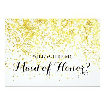 Gold Confetti - Will You Be My Maid of Honor Card