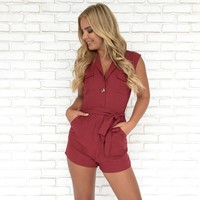 Yours Truly Linen Romper In Burgundy