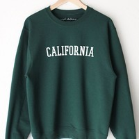 California Oversized Sweatshirt - Dark Green