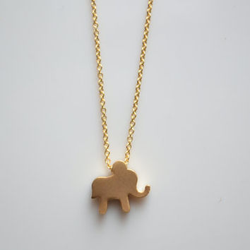 Gold Dainty Elephant Pendant Necklace Matte