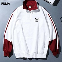 PUMA Fashion New Contrast Color Women Men Long Sleeve Top Sweater