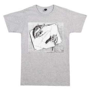 M.C. Escher Drawing Hands Lithograph Licensed Adult Unisex T-Shirt - Grey - XL
