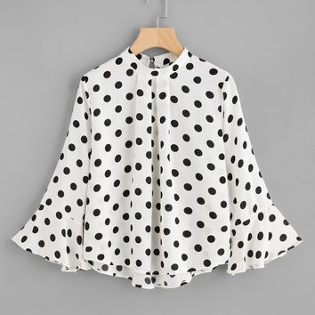 Fluted Sleeve Polka Dot Pleated Front Blouse WHITE