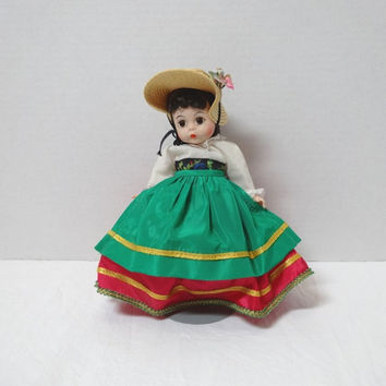 1960-70s Vintage Madame Alexander Kins 8 Inch Italian International Doll, Bend Knee, Red Dress, Green Apron, Straw Hat, Vintage Doll, Italy