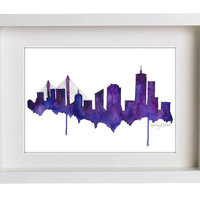 Watercolor Painting Print, Boston Skyline - Purple Home decor/Green home decor and scenic wall art