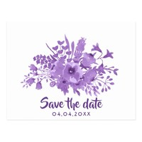 Save the date postcard violet and flowers