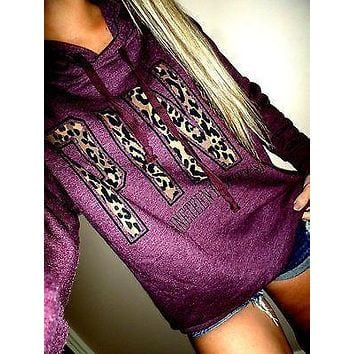 PINK Victoria's Secret Letter Print Hoodie Sweatshirt Top Sweater