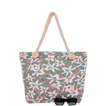 Orchid print canvas tote bag