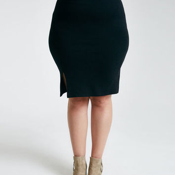 Plus size Front Slit Midi Skirt | Wet Seal Plus