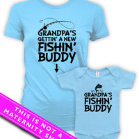 Matching Mommy And Me Clothing Pregnancy Clothes Grandpa's Fishing Buddy Baby Bodysuit Maternity Outfits Mom To Be Light Blue MAT-600-601