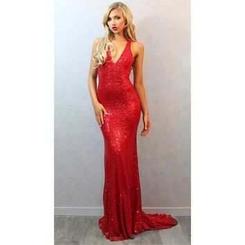 Sexy Red Prom Dresses 2016 vestido de formatura longo Dress for Graduation V Neck Backless Long Evening Dress Sparkly With Train