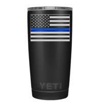 YETI Police Grey Thin Blue Line Flag on Black 20 oz Tumbler
