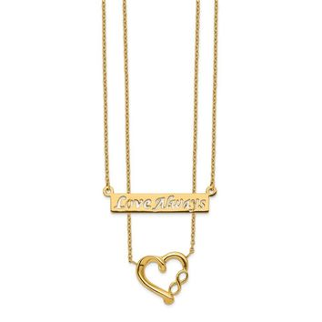 14K Yellow Gold Two-Strand Polished Love Always Heart Necklace 17 Inch