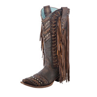 Corral Vintage Womens Western Brown Woven Fringe Side Cowgirl Boots