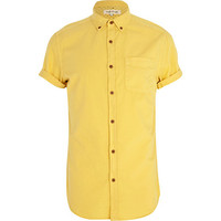 River Island MensYellow short sleeve Oxford shirt