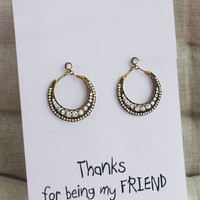 Best Friends Thank you Gift Card Woman Drop White Crustals Rhinestones Woman Earrings