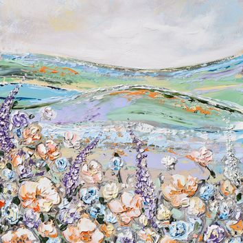 """""""Wildflower Meadow"""" ORIGINAL Art Abstract Floral Painting Textured Wildflowers Landscape 24x30"""""""