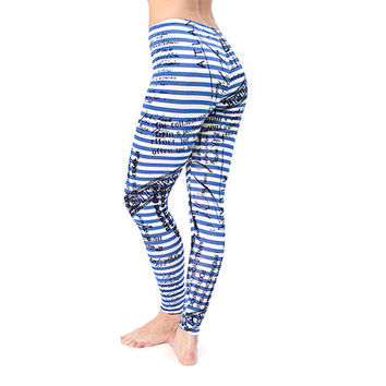 Blue and white stripes Leggings